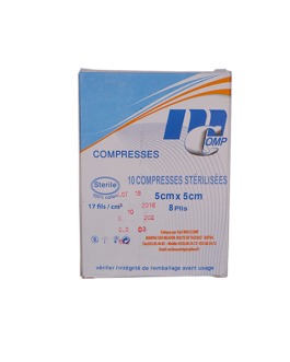 MCOMP COMPRESSES STERILISEES 5CM*5CM B/10