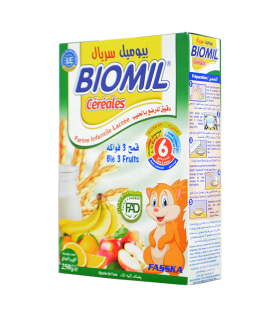 BIOMIL FARINE LACTEE BLE 3 FRUITS 6MOIS 250G