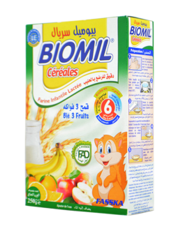 BIOMIL FARINE CEREALES LACTEE FRUITS 6MOIS  250G